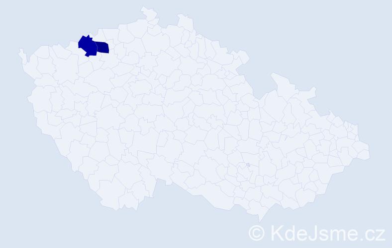 """Příjmení: '""""Al-Ashhabová""""', počet výskytů 2 v celé ČR"""