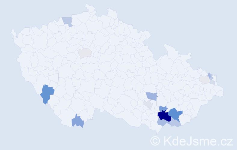 Příjmení: 'Hapla', počet výskytů 39 v celé ČR