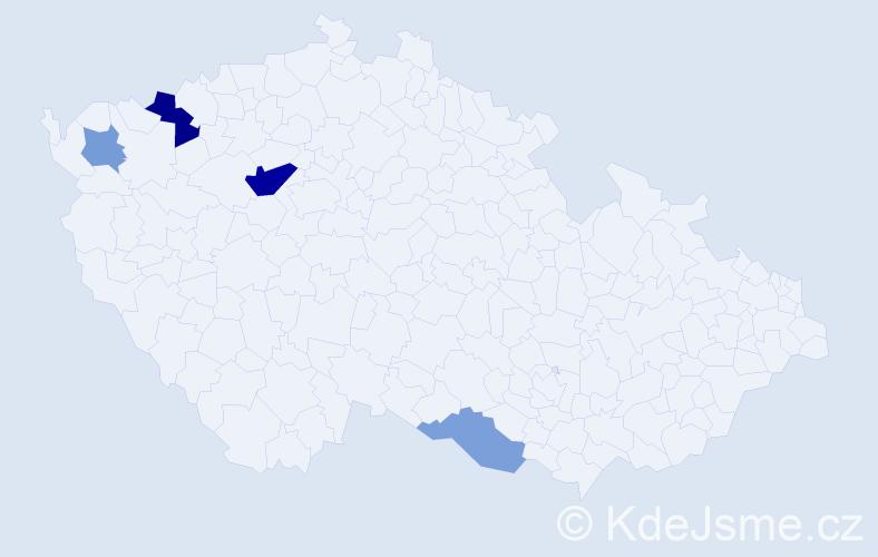 Příjmení: 'Hagenhofer', počet výskytů 8 v celé ČR