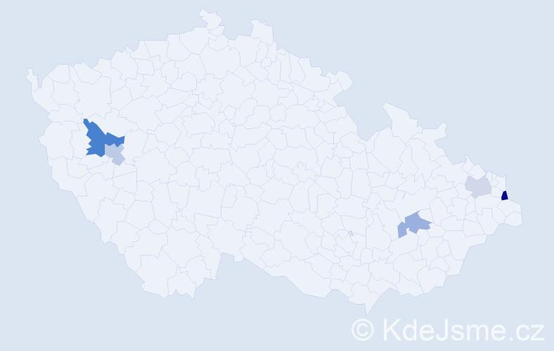Příjmení: 'Čolláková', počet výskytů 7 v celé ČR