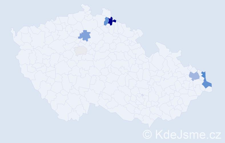 Příjmení: 'Kučo', počet výskytů 15 v celé ČR