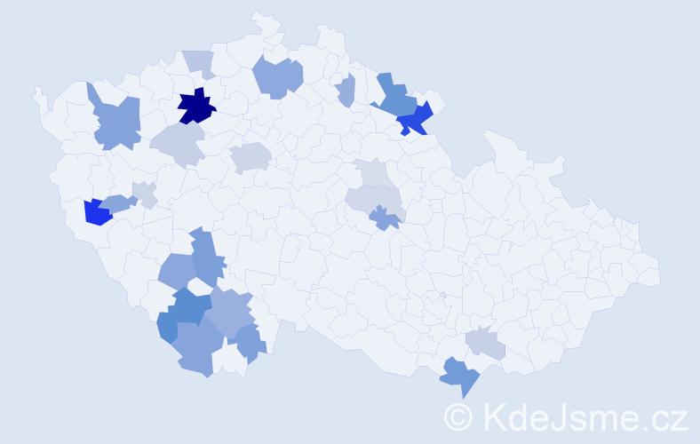 Příjmení: 'Červíčková', počet výskytů 71 v celé ČR
