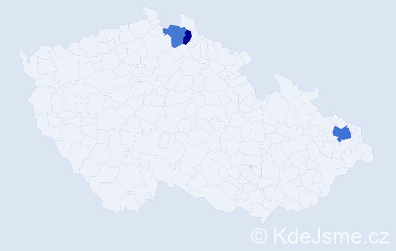 Příjmení: 'Fešár', počet výskytů 4 v celé ČR