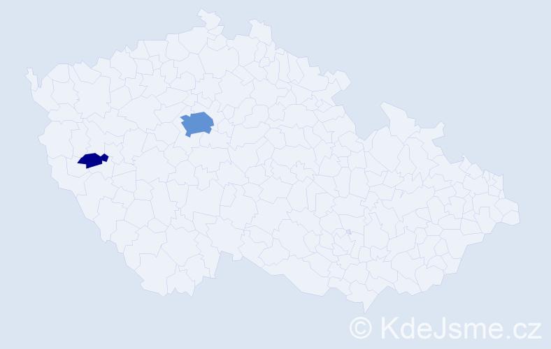 Příjmení: 'Gondolán', počet výskytů 13 v celé ČR
