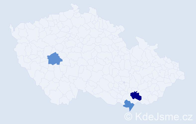 Příjmení: 'Čergeová', počet výskytů 4 v celé ČR