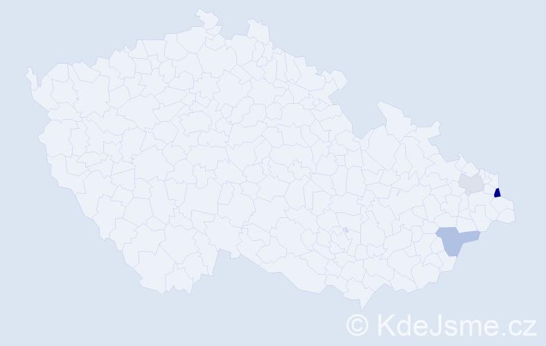 Příjmení: 'Casagrandová', počet výskytů 5 v celé ČR