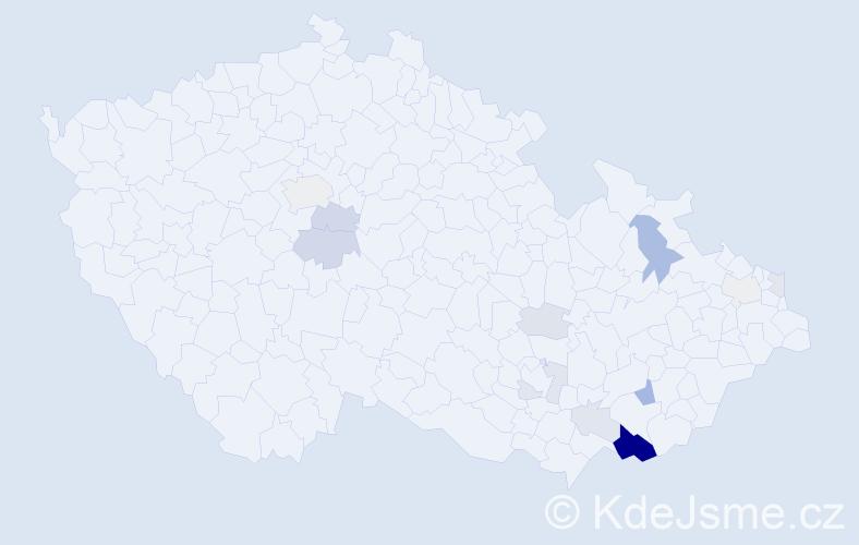 Příjmení: 'Baňařová', počet výskytů 38 v celé ČR