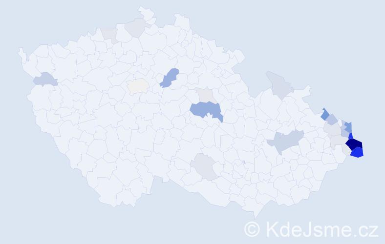 Příjmení: 'Janik', počet výskytů 83 v celé ČR