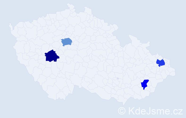 Příjmení: 'Gasková', počet výskytů 8 v celé ČR