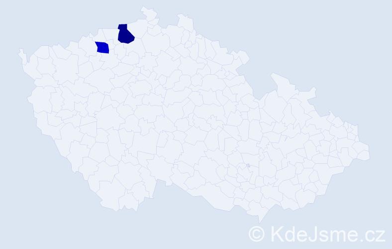 Příjmení: 'Claverová', počet výskytů 5 v celé ČR