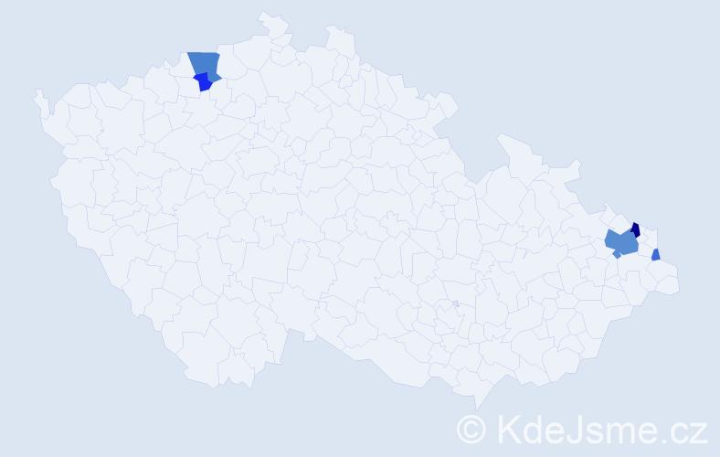 Příjmení: 'Frater', počet výskytů 13 v celé ČR