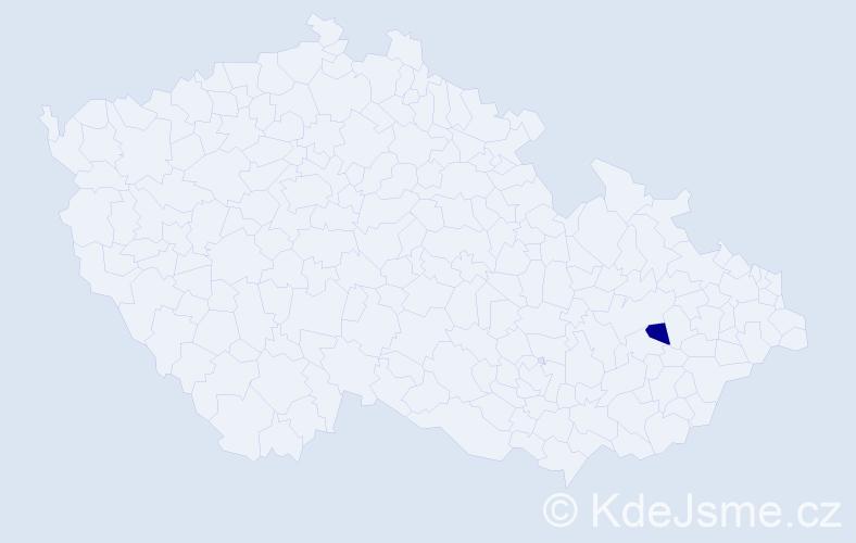 """Příjmení: '""""Kusová Charvátová""""', počet výskytů 1 v celé ČR"""