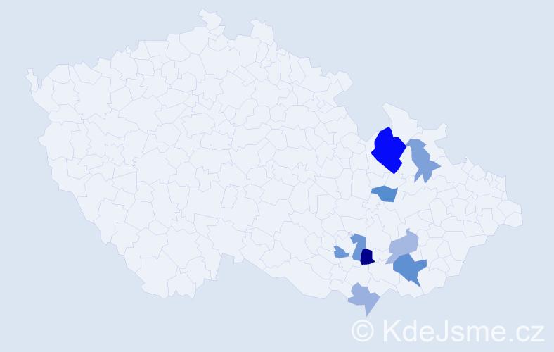 Příjmení: 'Kauf', počet výskytů 16 v celé ČR