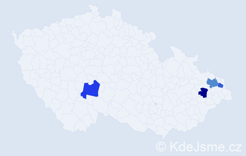 Příjmení: 'Cvajnová', počet výskytů 5 v celé ČR
