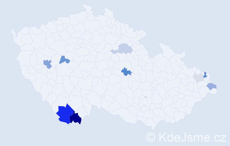 Příjmení: 'Jančiga', počet výskytů 15 v celé ČR