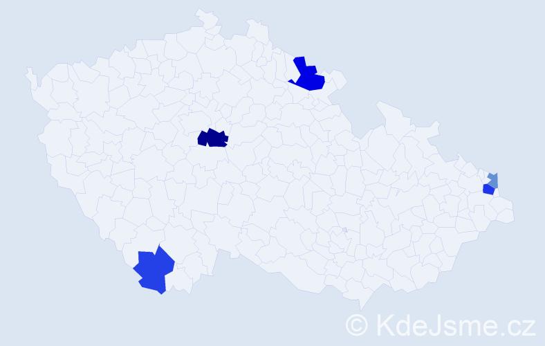 Příjmení: 'Čížiková', počet výskytů 8 v celé ČR