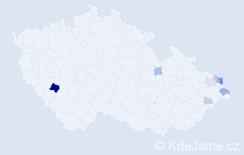 Příjmení: 'Křevká', počet výskytů 24 v celé ČR