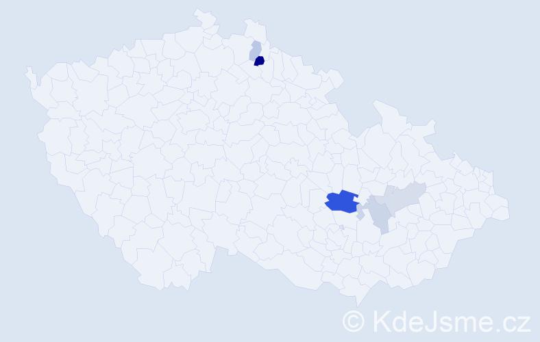 Příjmení: 'Jäkl', počet výskytů 10 v celé ČR