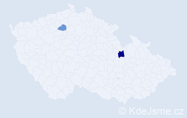 Příjmení: 'Ilman', počet výskytů 3 v celé ČR