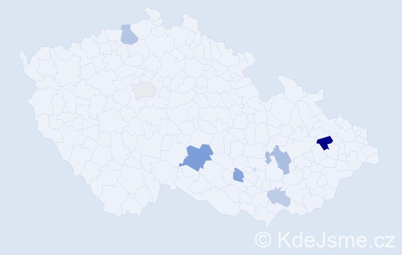 Příjmení: 'Florík', počet výskytů 15 v celé ČR