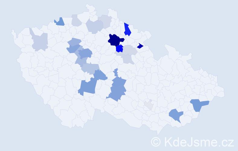 Příjmení: 'Deyl', počet výskytů 67 v celé ČR