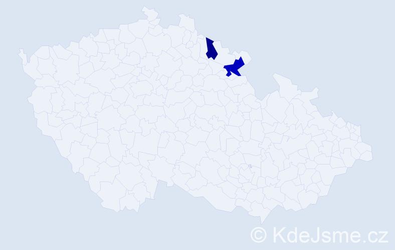 Příjmení: 'Kanera', počet výskytů 3 v celé ČR