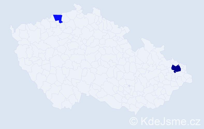Příjmení: 'Černadarová', počet výskytů 4 v celé ČR