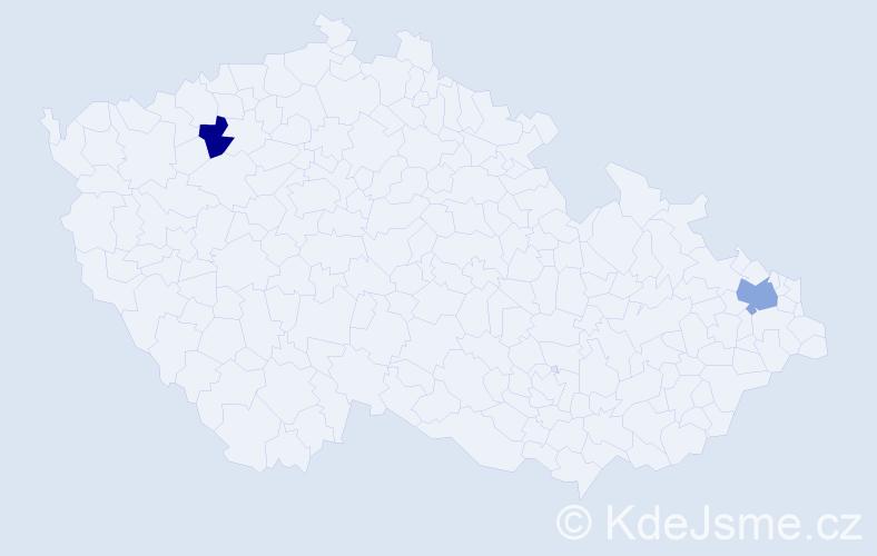 Příjmení: 'Kačenák', počet výskytů 8 v celé ČR