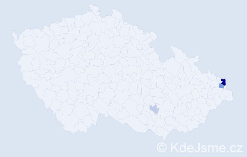Příjmení: 'Lanďák', počet výskytů 5 v celé ČR