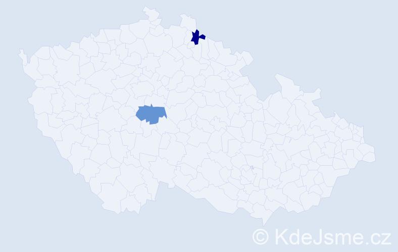 Příjmení: 'Herelo', počet výskytů 2 v celé ČR