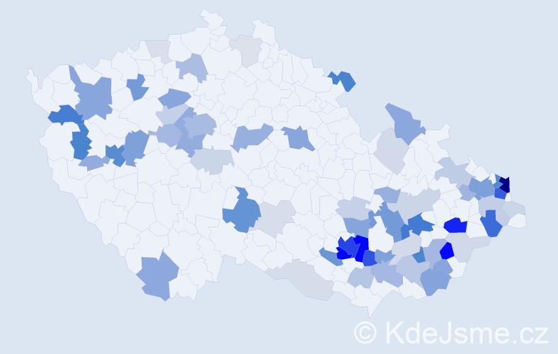 Příjmení: 'Dostalová', počet výskytů 243 v celé ČR