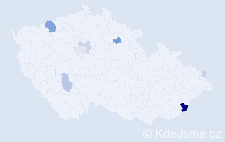 Příjmení: 'Crkoňová', počet výskytů 14 v celé ČR