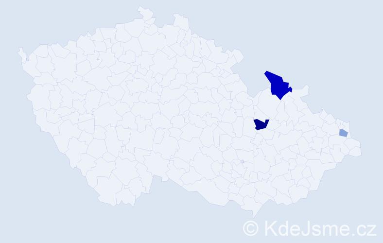 Příjmení: 'Čičak', počet výskytů 4 v celé ČR