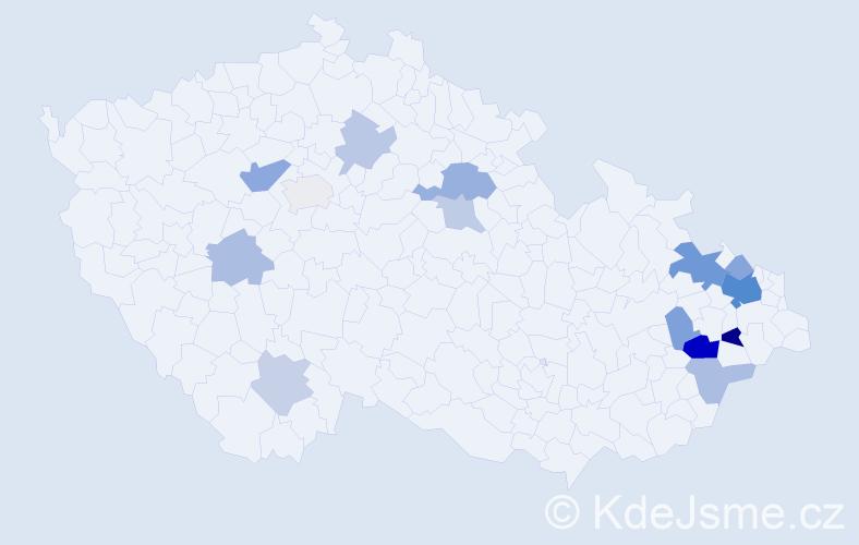 Příjmení: 'Dorčák', počet výskytů 31 v celé ČR