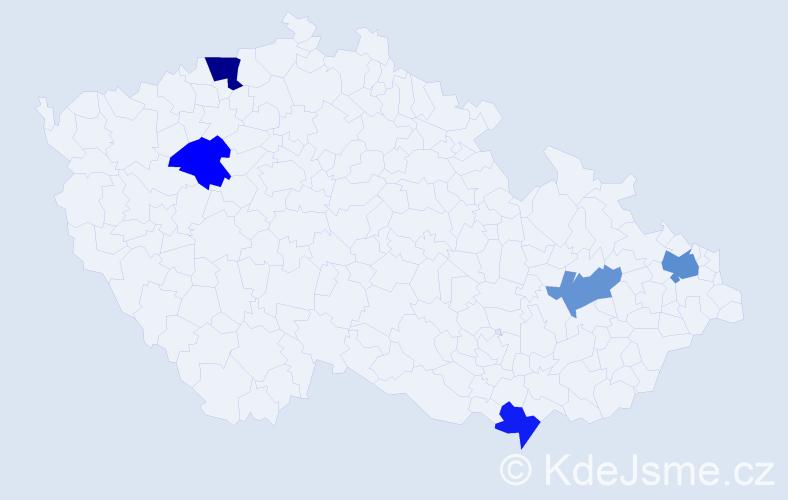 Příjmení: 'Bagiová', počet výskytů 7 v celé ČR