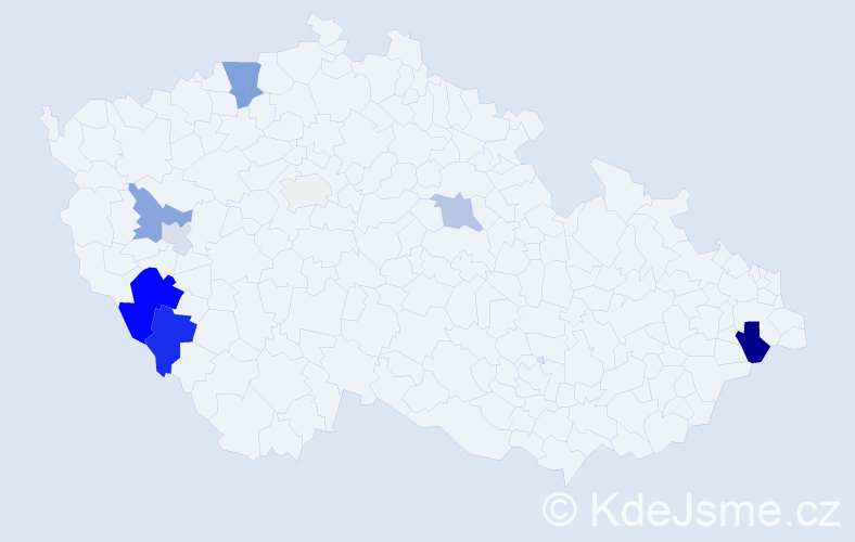 Příjmení: 'Lerachová', počet výskytů 25 v celé ČR