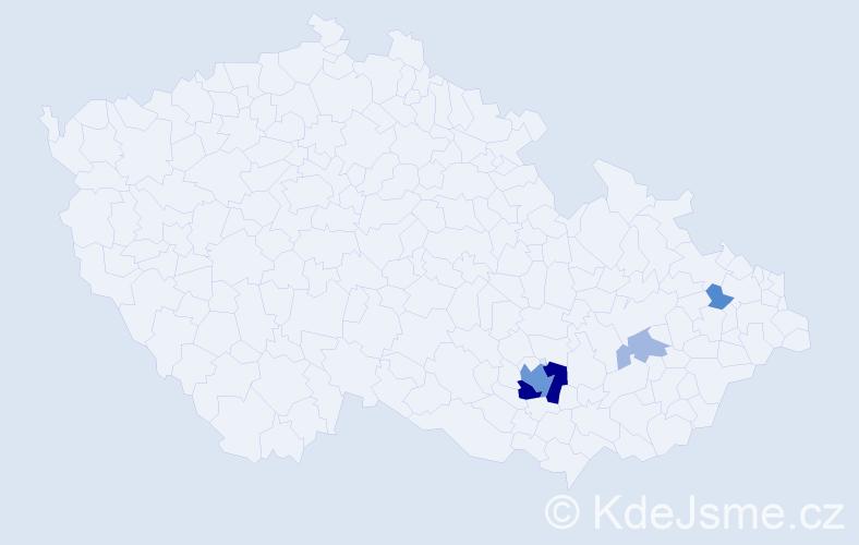 Příjmení: 'Čandrlová', počet výskytů 15 v celé ČR