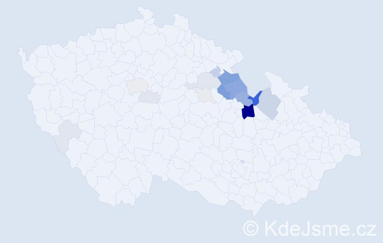 Příjmení: 'Jáneš', počet výskytů 45 v celé ČR