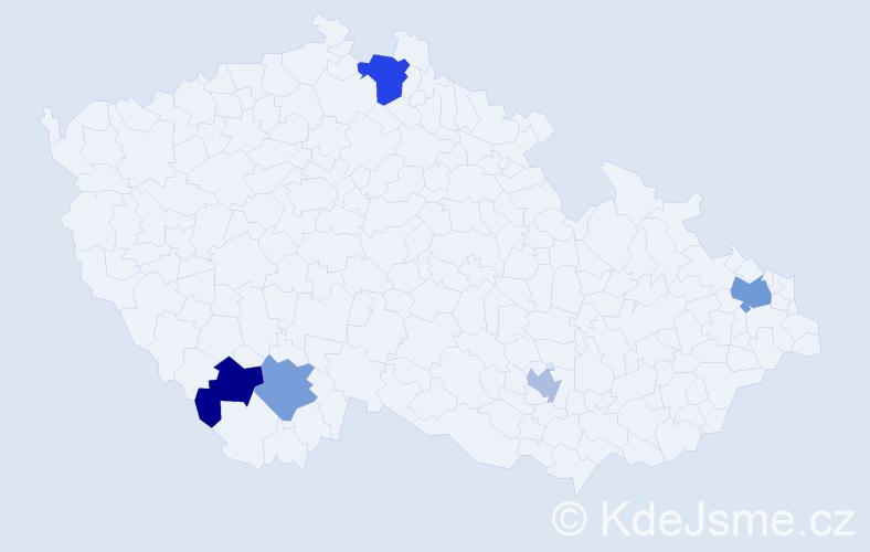 Příjmení: 'Horan', počet výskytů 7 v celé ČR