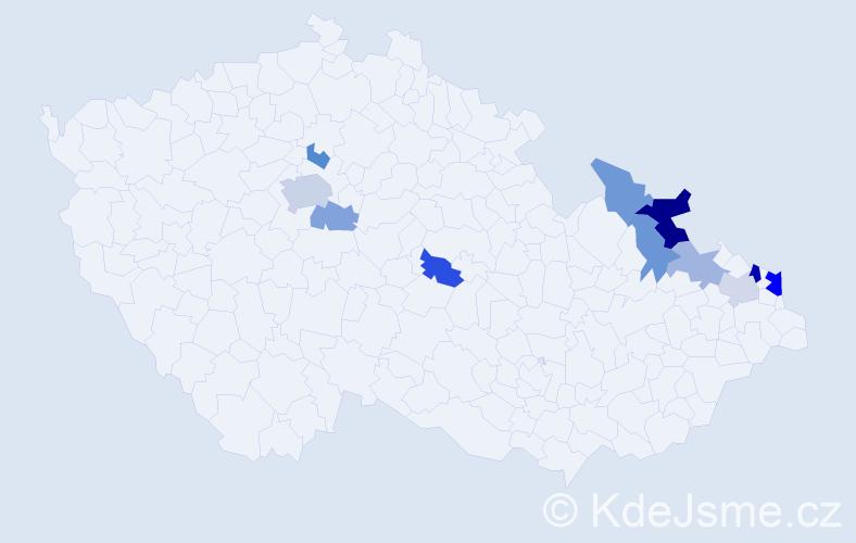 Příjmení: 'Gergišák', počet výskytů 20 v celé ČR