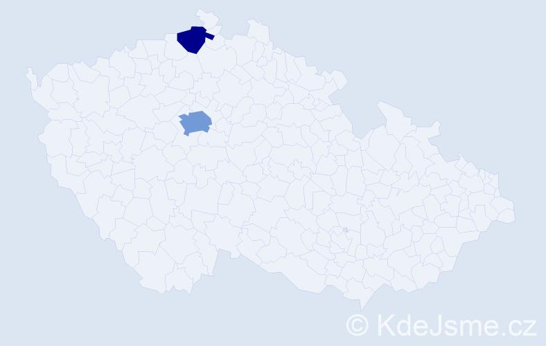 Příjmení: 'Čebotarev', počet výskytů 4 v celé ČR
