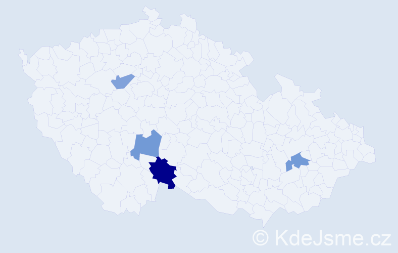 Příjmení: 'Boga', počet výskytů 5 v celé ČR