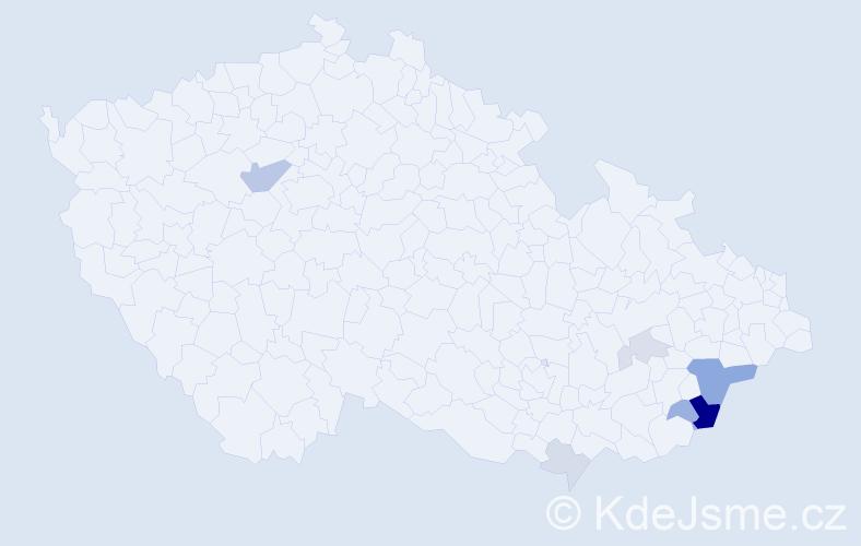 Příjmení: 'Dořáková', počet výskytů 17 v celé ČR