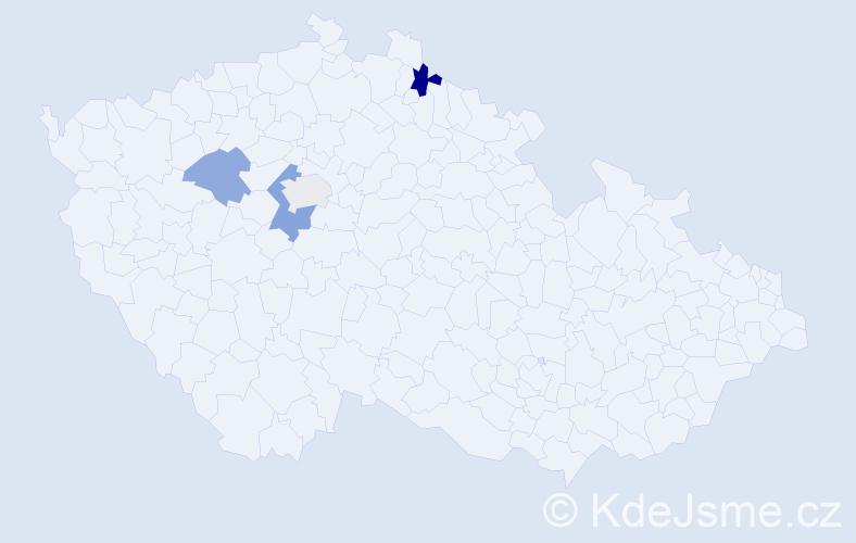 Příjmení: 'Kramara', počet výskytů 6 v celé ČR