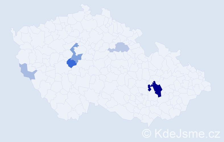 Příjmení: 'Kardinál', počet výskytů 23 v celé ČR