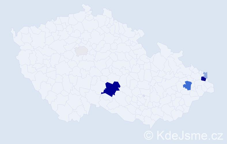 Příjmení: 'Gardlová', počet výskytů 16 v celé ČR