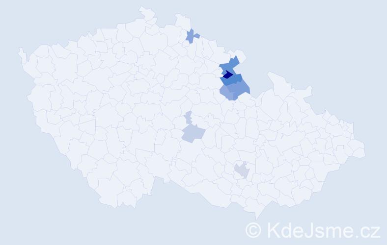 Příjmení: 'Laštovic', počet výskytů 18 v celé ČR