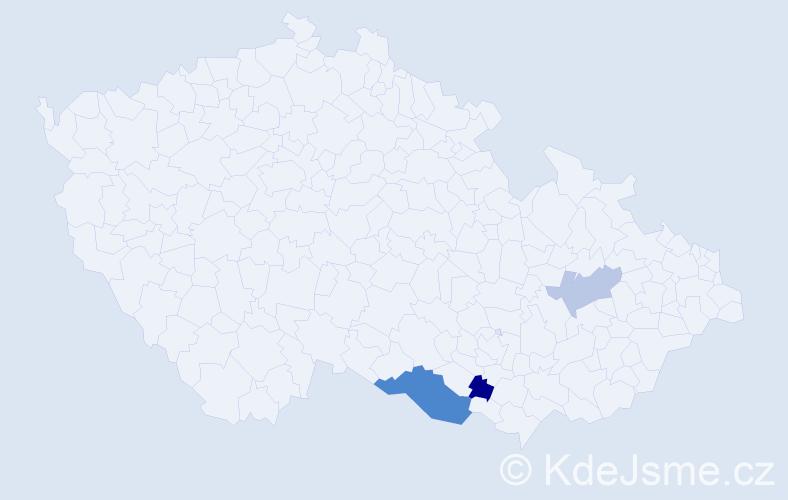 Příjmení: 'Faklová', počet výskytů 5 v celé ČR