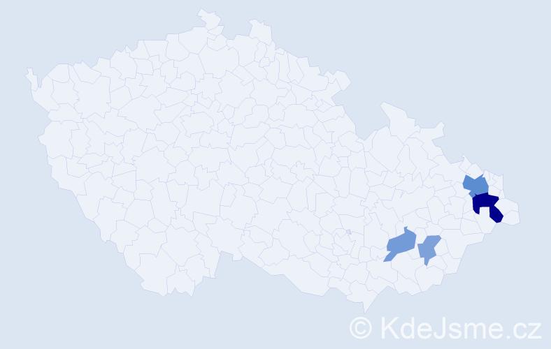 Příjmení: 'Klučár', počet výskytů 10 v celé ČR