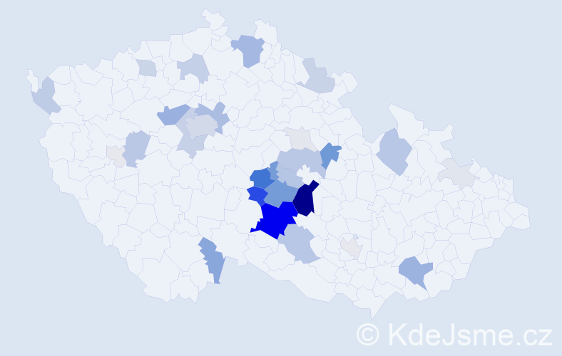 Příjmení: 'Brukner', počet výskytů 125 v celé ČR